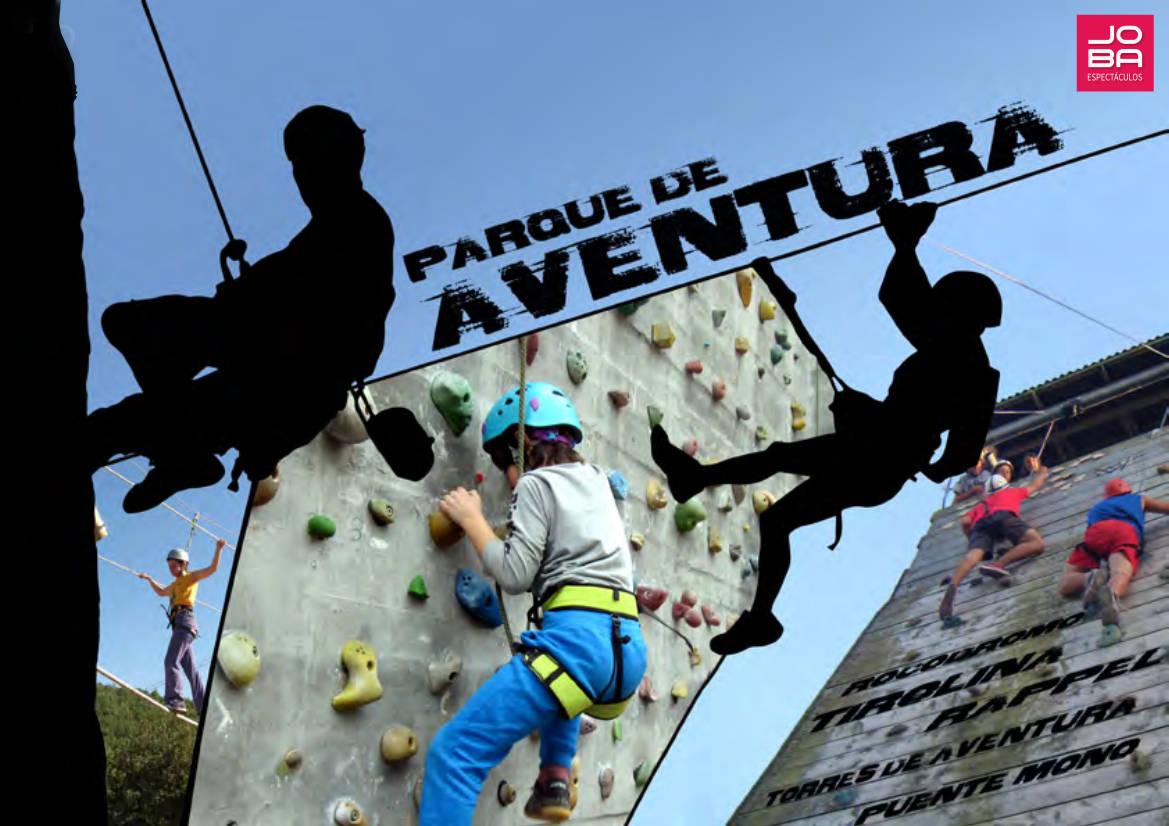Parque de Aventura: Torre de aventura con zona de escalada tipo rocodromo, tirolina, rappel, red trepadora... para tus eventos, celebraciones y fiestas patronales.