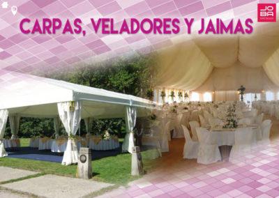 Mobiliario para eventos: Mesas, Sillas, Carpas, Veladores y Jaimas