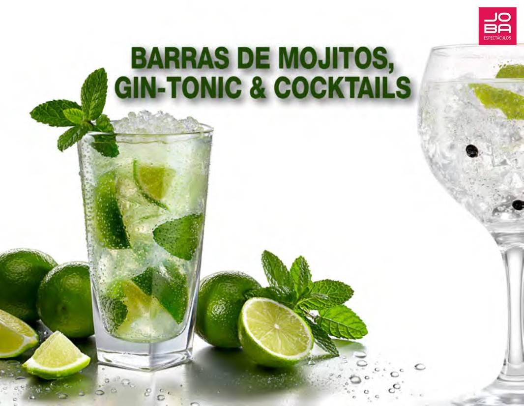 Servicio de barras de mojitos, gin-tonics y cocktails
